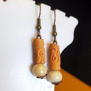 Bronze Hook Clay and Glass Bead Dangle Earrings